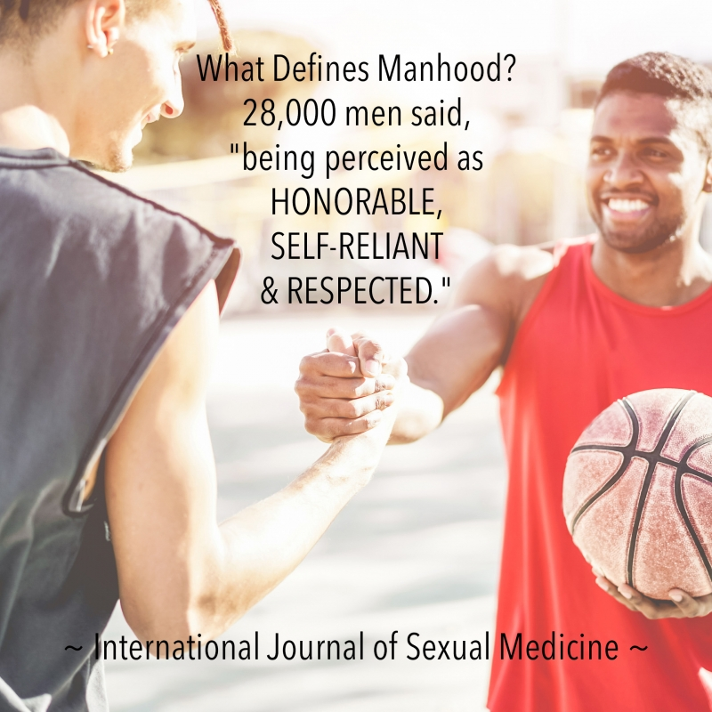 """What Defines Manhood? 28,000 men said, """"being perceived as HONORABLE, SELF-RELIANT & RESPECTED."""" - International Journal of Sexual Medicine"""
