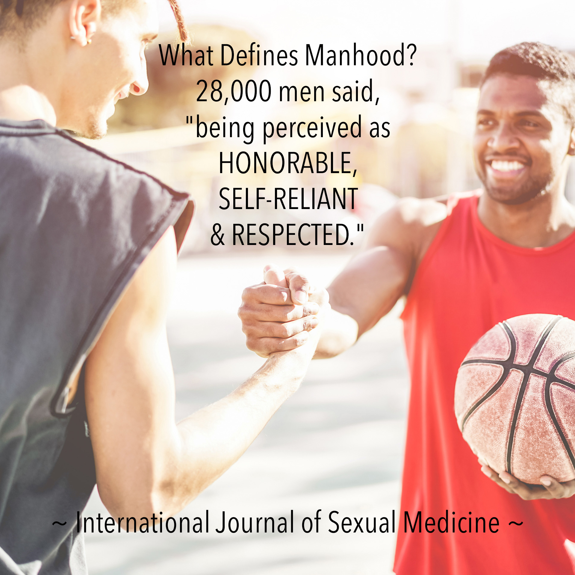 "What Defines Manhood? 28,000 men said, ""being perceived as HONORABLE, SELF-RELIANT & RESPECTED."" - International Journal of Sexual Medicine"